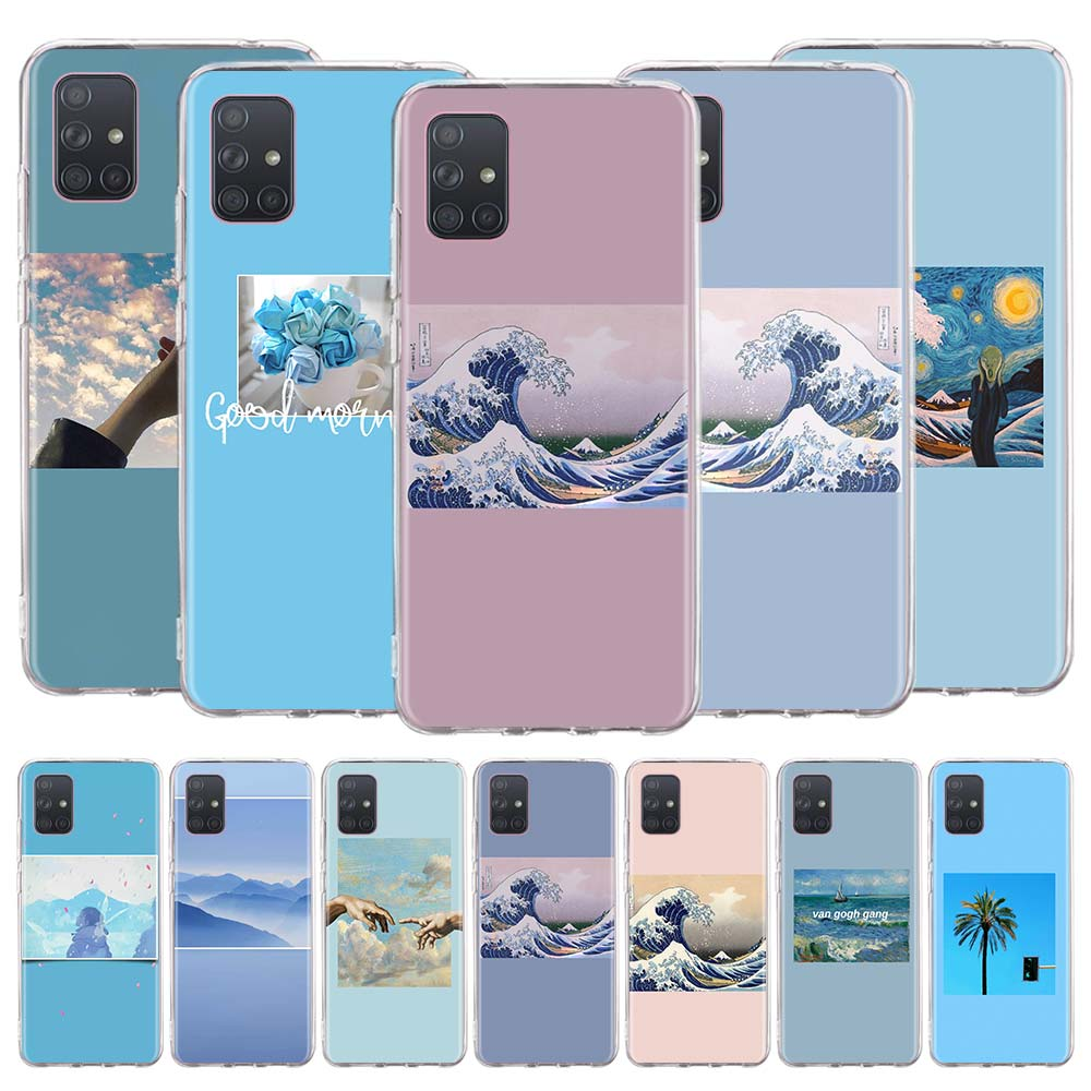 Silicone Case Coque For Samsung Galaxy A51 A71 A91 A10e A20s A30 A40 A50 A70 A31 A41 A01 Soft Cover Blue Aesthetics Aesthetic