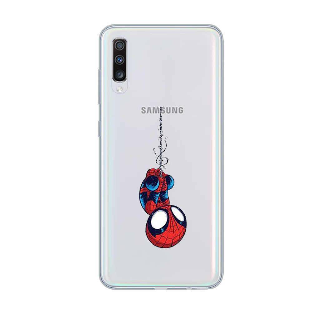 Ciciber Phone Case untuk Samsung Galaxy A50 A70 A80 A40 A30 A20 A60 A10 A20e Silikon Lembut Marvel Iron Man thor Cover Funda Coque