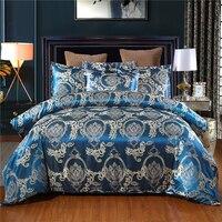 Luxuriöse Seidige Satin Bettwäsche Set Kissenbezug Jacquard Blume Weiche Bettwäsche Bett Bettbezug-set Erwachsene Blau Bettwäsche Set Twin