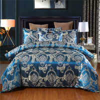 Luxurious Silky Satin Bed Linens Set Pillowcase Jacquard Flower Soft Bedclothes Bed Duvet Cover Set Adults Blue Bedding Set Twin