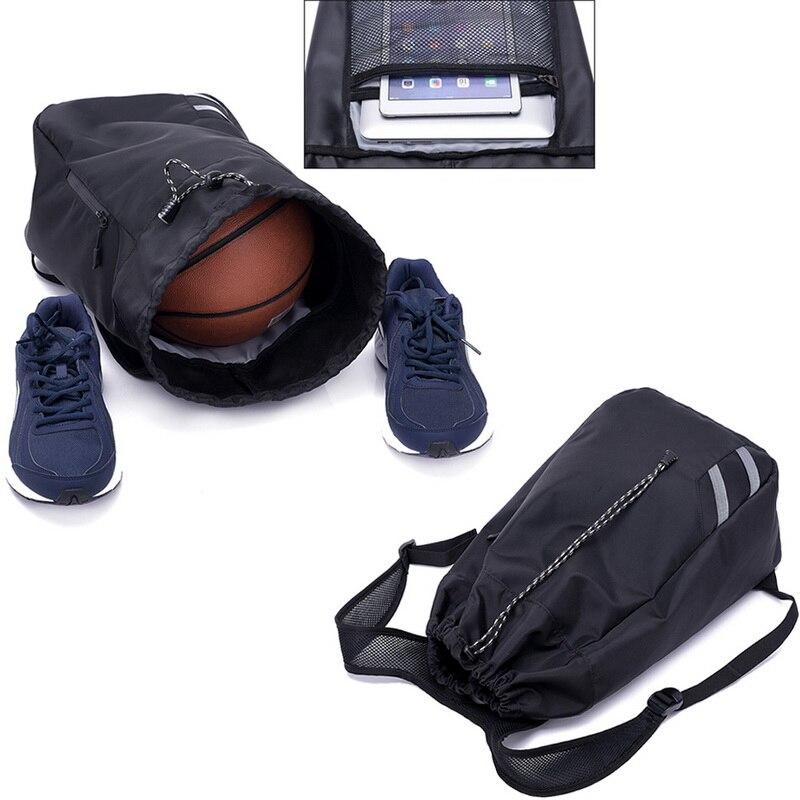 Мужской баскетбольный рюкзак SHUJIN, черный школьный рюкзак для мячей, футбольных мячей, с кулиской, для фитнеса, для занятий спортом на открытом воздухе, осень 2019-5