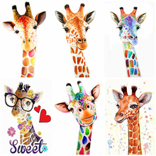 DIY Painting AZQSD By Numbers Animals-Kit Frameless Colorful Gift for Home-Decor Giraffe