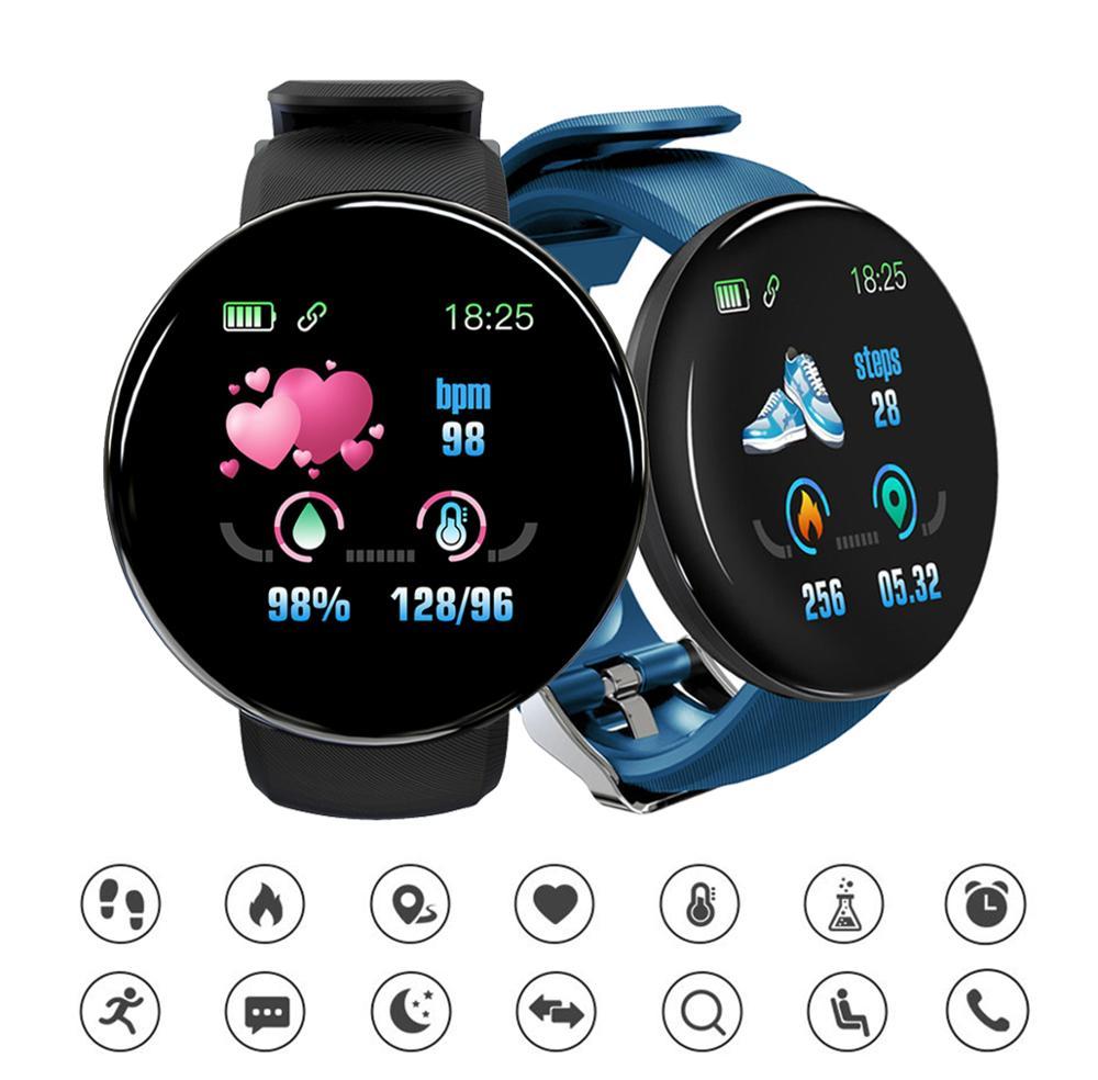 Novo bluetooth d18 relógio inteligente dos homens pressão arterial smartwatch relógio masculino à prova dwhatágua esporte rastreador whatsapp para android ios