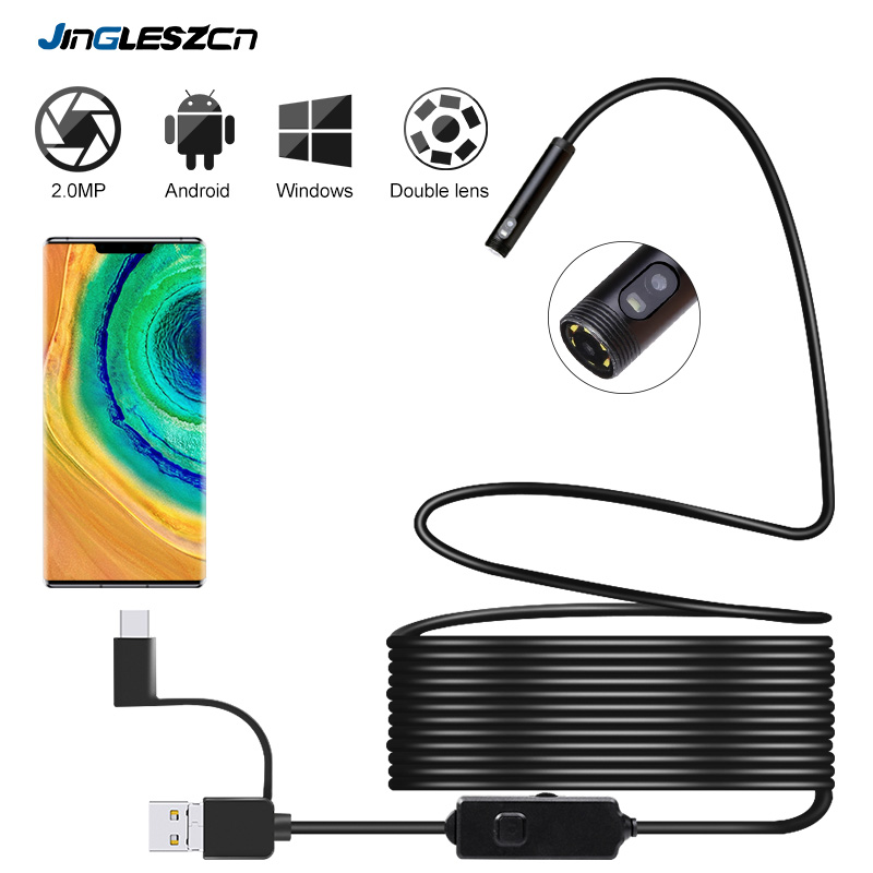 Newest Android Inspection Camera With Dual Lens Endoscope Camera 720P HD 2.0MP 8mm Semi-rigid Snake Camera For OTG Android, PC