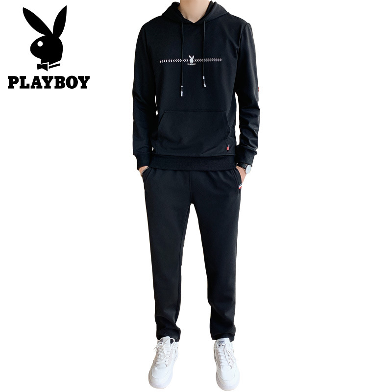 Playboy tide men's slim comfortable breathable hooded sweater pants sports suit men's...