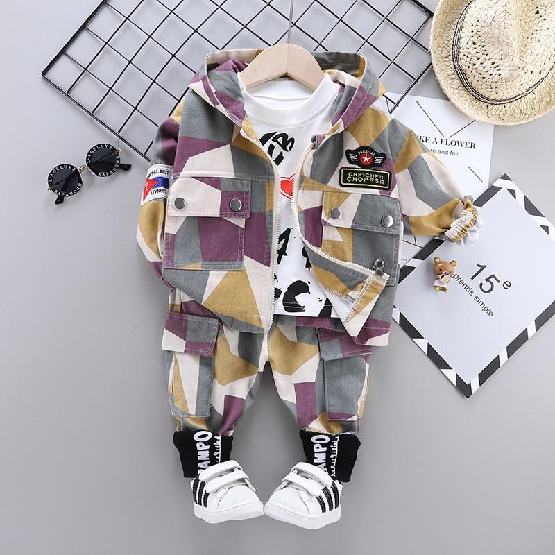 Baby Boy Clothes 2020 Spring Autumn Fashion Children Clothing Set Camouflage Jaket+Sweater+Pants 3PCS Outfit Kids Clothes Suit