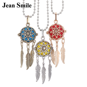 2019 New Aroma Diffuser Necklace Trendy Dreamcatcher Feather Pendant Necklace Vintage Locket Essential Oil Aromatherapy Necklace(China)