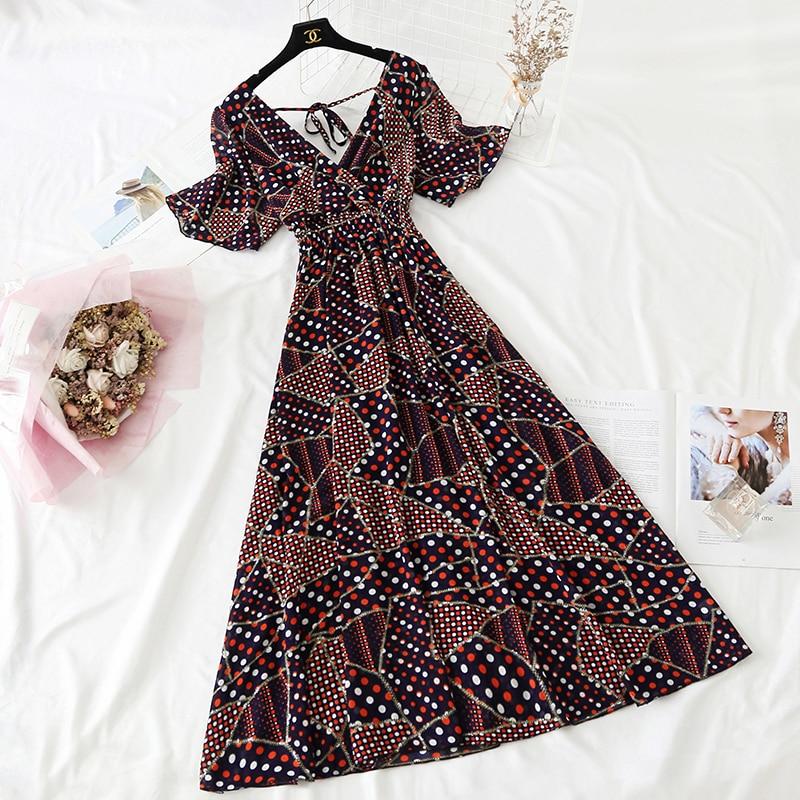 Summer Fairy Dress Women French Style Vintage Retro Chiffon Dress Short sleeve Casual Elegant Floral Print Dress Women 2021 New 28