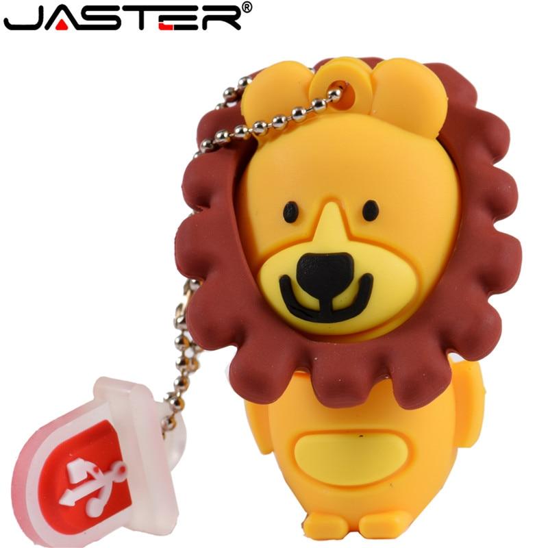 JASTER Cute Cartoon Lion USB Flash Drive 8GB 4GB 64GB 32GB 16GB Lovely Animal Mini Gift Memory Stick Pendrive Full Capacity