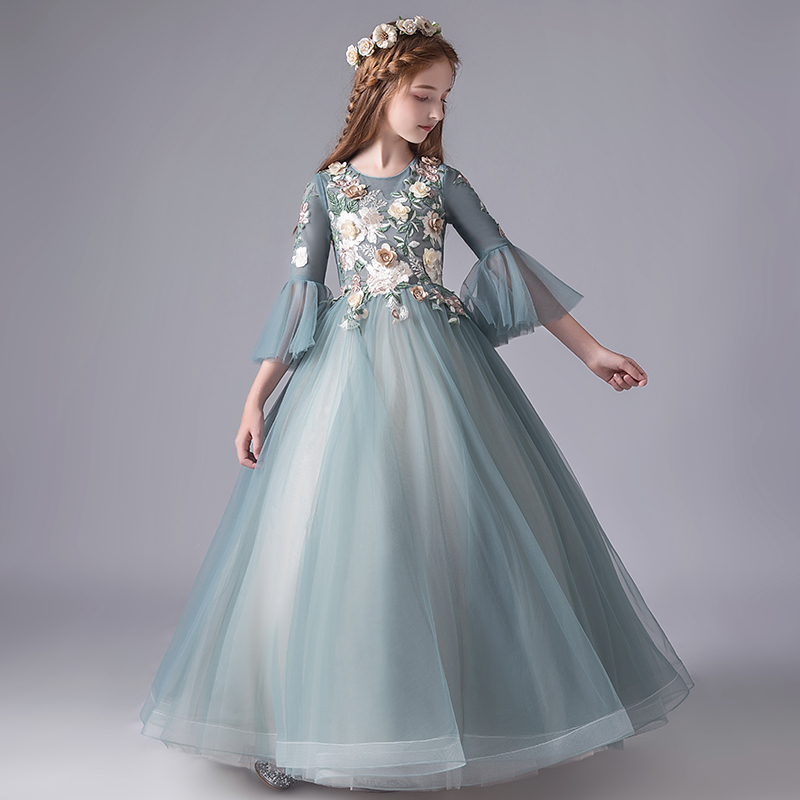 Embroidery   Flower   Lace   Girl   Wedding Party   Flower     Girl     Dresses   Flare Sleeve Long Tulle Kids Princess Pageant Communion Gown