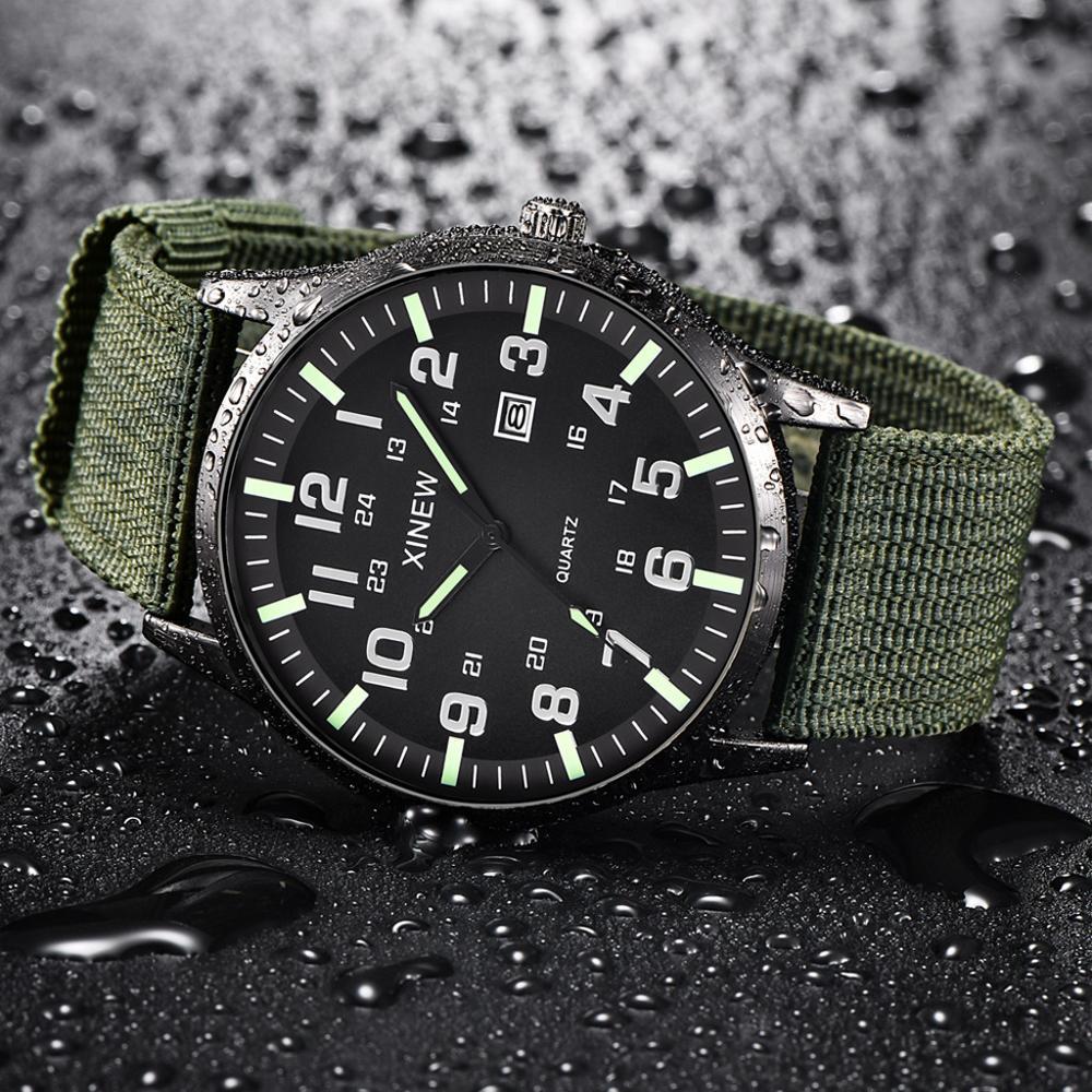 Men Boy Round Dial Nylon Strap Band Watch Military Canvas Calendar Army Date Quartz Wrist Watch Waterproof Relogio Masculino Q