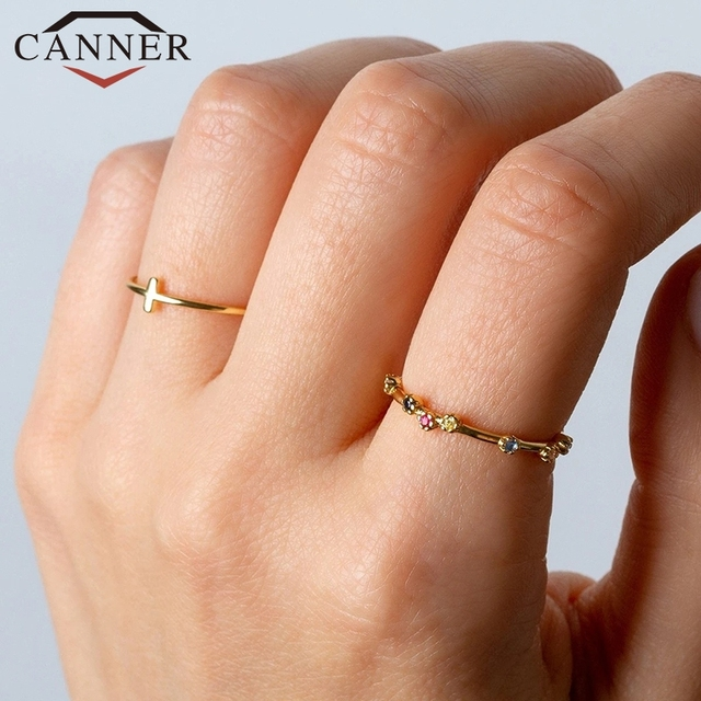 CANNER 925 Sterling Silver Rings for Women Cute Zircon Round Ring 925 Silver Wedding Fine Jewelry Minimalist Gift anillos 1