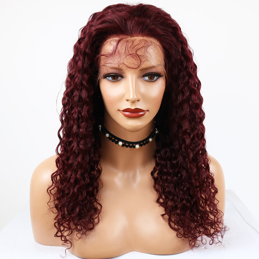 Eversilky 99j Burgundy Brazilian 13X4 Lace Front Human Hair Wig Pre Plucked Glueless Red Curly Wig With Baby Remy Hair For Women
