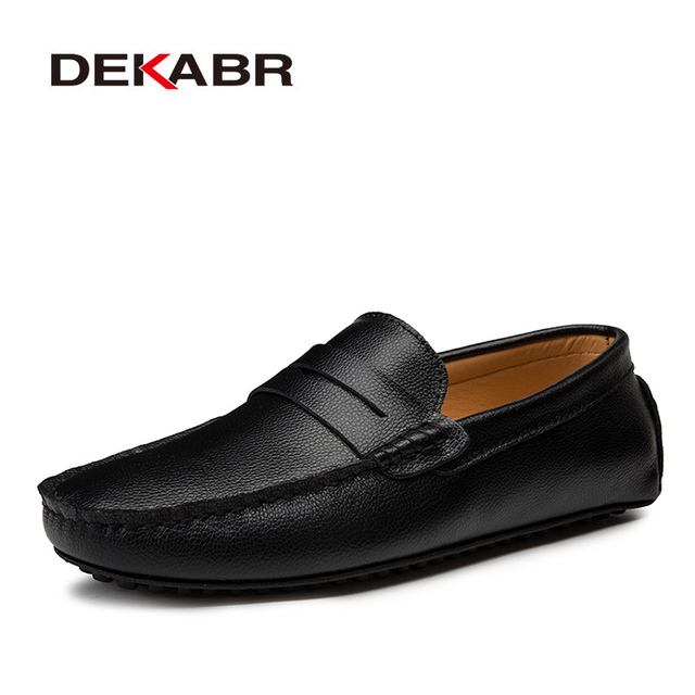 DEKABR Big Size 38~49 Men Loafers Real Leather Shoes Fashion Men Boat Shoes Brand Men Casual Leather Shoes Male Flat Shoes