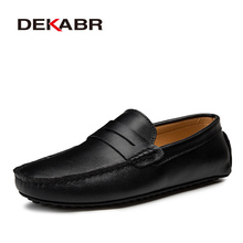 DEKABR Big Size 38~49 Men Loafers Real Leather Shoes Fashion Men Boat Shoes Brand Men Casual Leather Shoes Male Flat Shoes cheap Genuine Leather Cow Leather Rubber SB22103 Slip-On Fits true to size take your normal size Solid Adult Breathable Massage