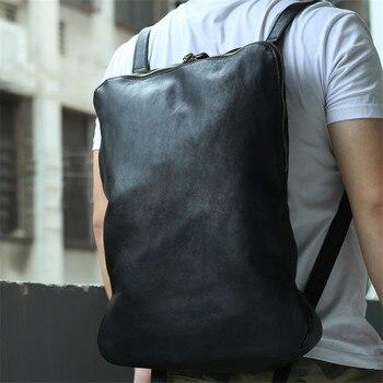 Nesitu High Quality New Vintage Large Capacity Brown Black Genuine Leather Women Men Backpacks Travel Bag M006