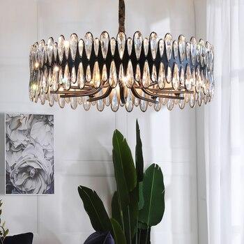 Черная люстра светильник ing в спальне гостиной круглый обеденный стол Хрустальная Подвесная лампа Европейский простой светильник светильн...