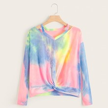 Women Casual Gradient Contrast Color Printed Long Sleeve Top Hollow Shirt  8.23