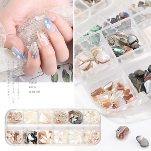 15 Color Mixed Nail Art Shell Stone Jewelry Set Slim Shell DIY Fashion Charm Nail Decoration Japanese Manicure Art