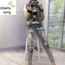 European New Fashion Women Sets Embroidery Jacket 2 piece Suits Waistcoat Denim Vest Coat Hole Jeans Ladies Plus Size(China)
