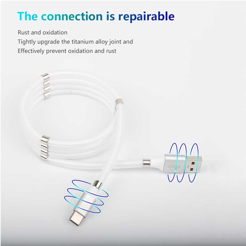 SuperCalla Magnetic Charging Cable Uses Magnets To Eliminate Tangle Mess Super Fast Charging Cable Self Wind USB Data Cord