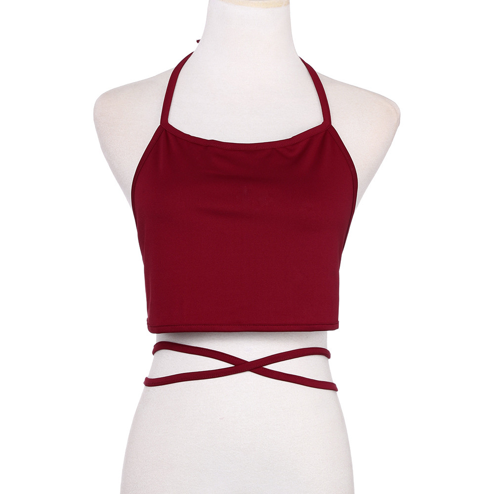 Preferential Summer Sexy Female Crop Tops 2020 Women Sleeveless Backless Vest Halter Tank Top Camisole Bandage FC