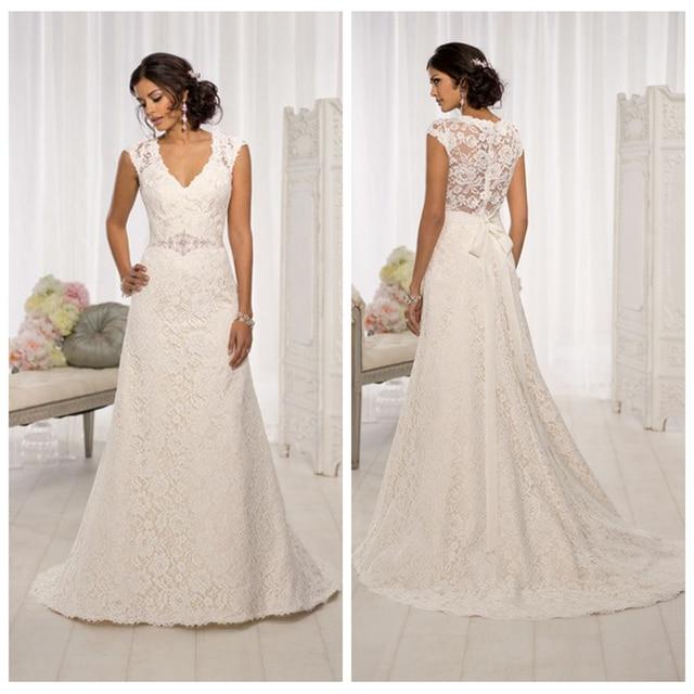 V-Neck A-Line Lace Appliques Wedding Dresses Floor Length Sleeveless Elegant Bridal Gown Свадебное платье vestidos de novia 2