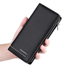 WILLIAMPOLO luxury male genuine Leather Zipper Wallets men 2019 fashion Long Men Purse Clutch Card Holder Business Wallet