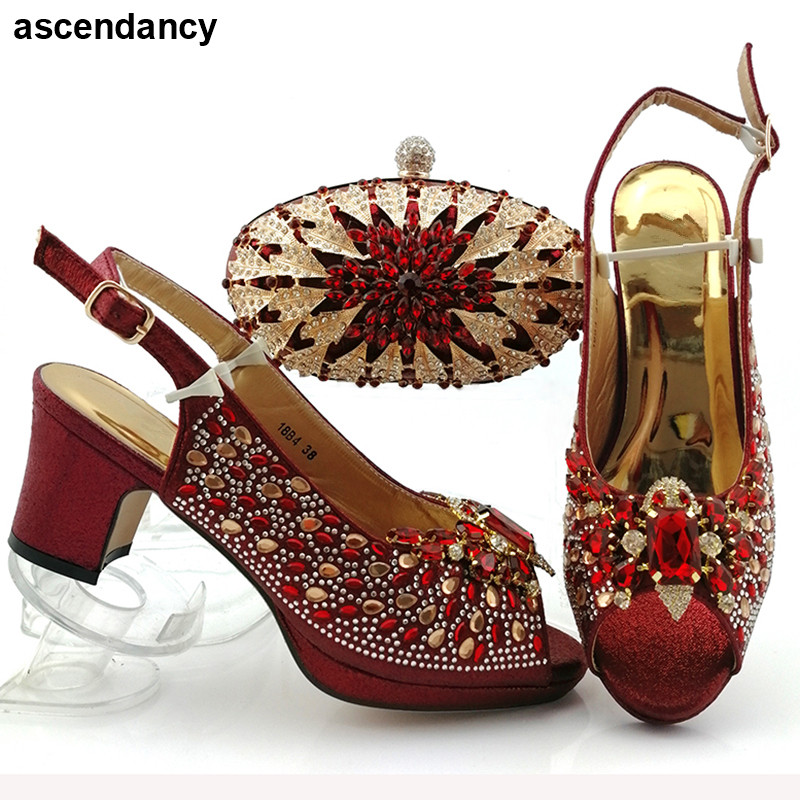 African Bag And Shoe Set Wine Bag And Shoe Italian Italian Shoes With Matching Bags Latest Design Luxury Shoes Women Designers