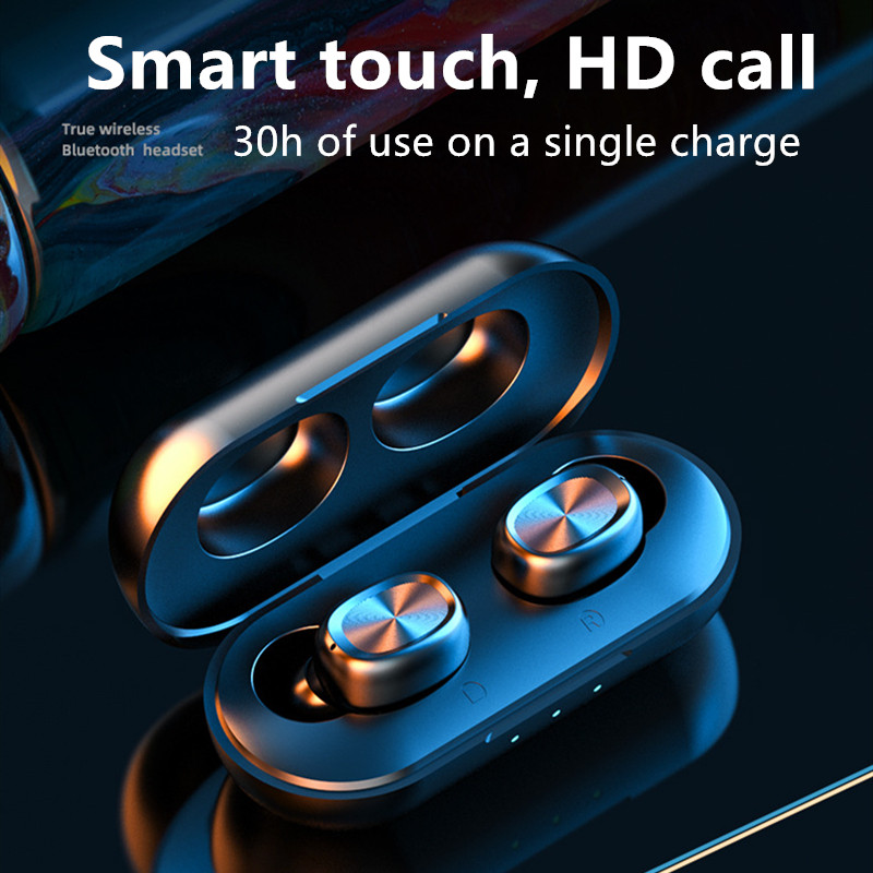 NEW B5 Bluetooth5.0 Earphone Wireless Earbuds Fingerprint Touch Earpieces Wireless Headphones 8D Stereo  Dual-Mic Noise Cancel