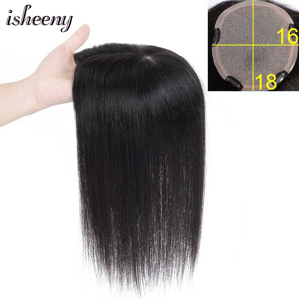 "Isheeny 16x18 Virgin Human Hair Topper Wig 6""-14"" V-loop Lace Top Hair Piece Natural Color For Women"