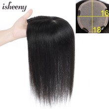 "Isheeny 16x18 Virgin Human Hair Topper Wig 6""-14"" V-loop Lace Top Hair Piece Natural Color For Women(China)"
