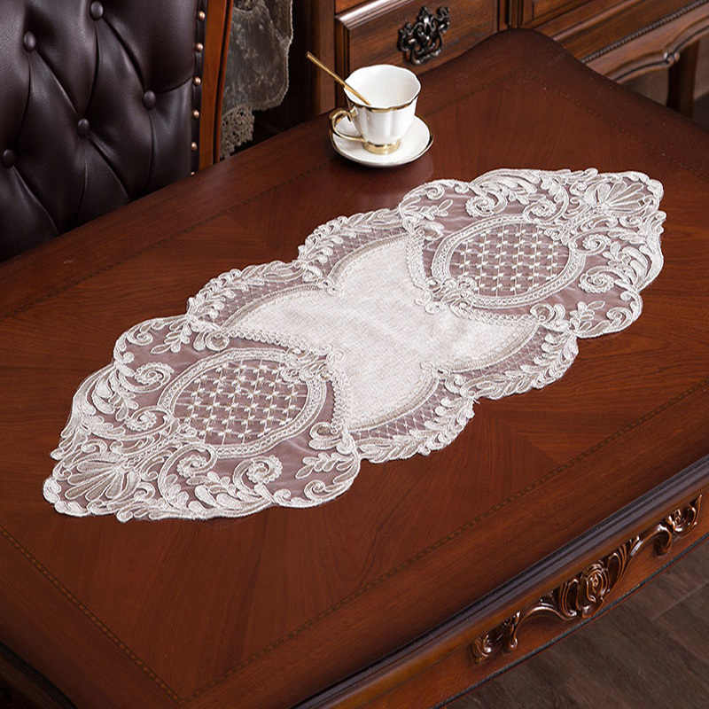 European Style Simple Water Soluble Lace Oval Tablecloth Kitchen