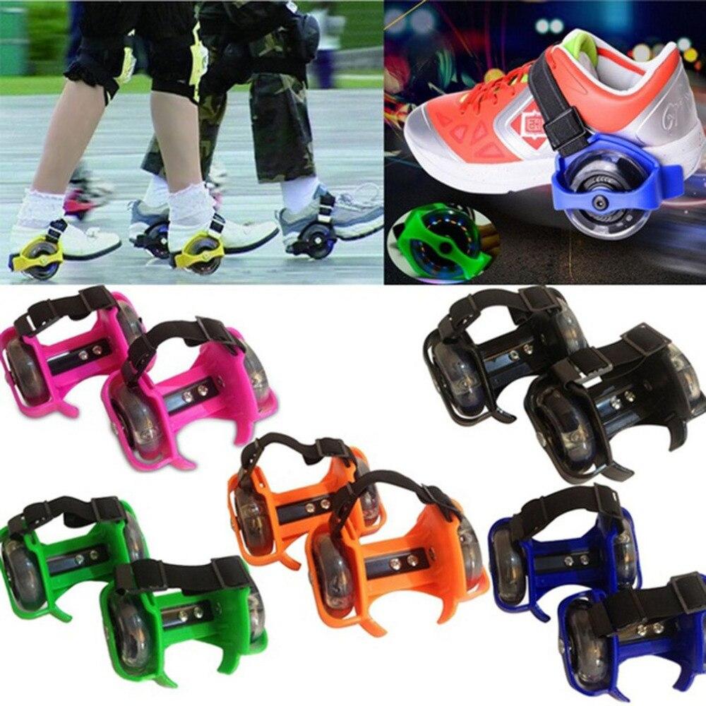 Flashing Children Roller Shoes Roller Skates Men Women Single Wheel Children's Shoes Heelys Child Wheel Shoe 1 Pair Random Color