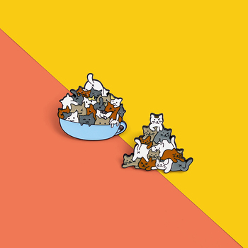 Hey cat family Coffee Cup A of Enamel Pin Cat Brooches Bag Lapel Pin Cartoon Animal Kitten Badge Jewelry Gift for Kids Friends image