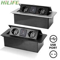HILIFE 2 3 presa ue copertura in lega di alluminio presa da tavolo presa da tavolo Pop-Up lento per sala riunioni con ricarica USB
