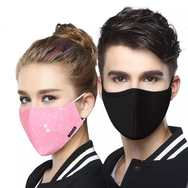 Cotton KN95/ PM2.5 Black mouth Mask anti dust mask Activated carbon filter Windproof Mouth-muffle bacteria proof Flu Face masks