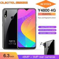 OUKITEL Y4800 6.3 FHD + grand écran Smartphone Android 9.0 Octa Core 6G 128G empreinte digitale 4000mAh 9 V/2A visage ID téléphone portable