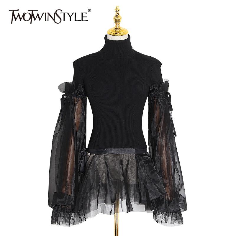 >TWOTWINSTYLE Patchwork Mesh Sweater Women Turtleneck Puff Long Sleeve Ruffle Hem Knitting Pullovers <font><b>Female</b></font> <font><b>2020</b></font> <font><b>Clothing</b></font> Fashion