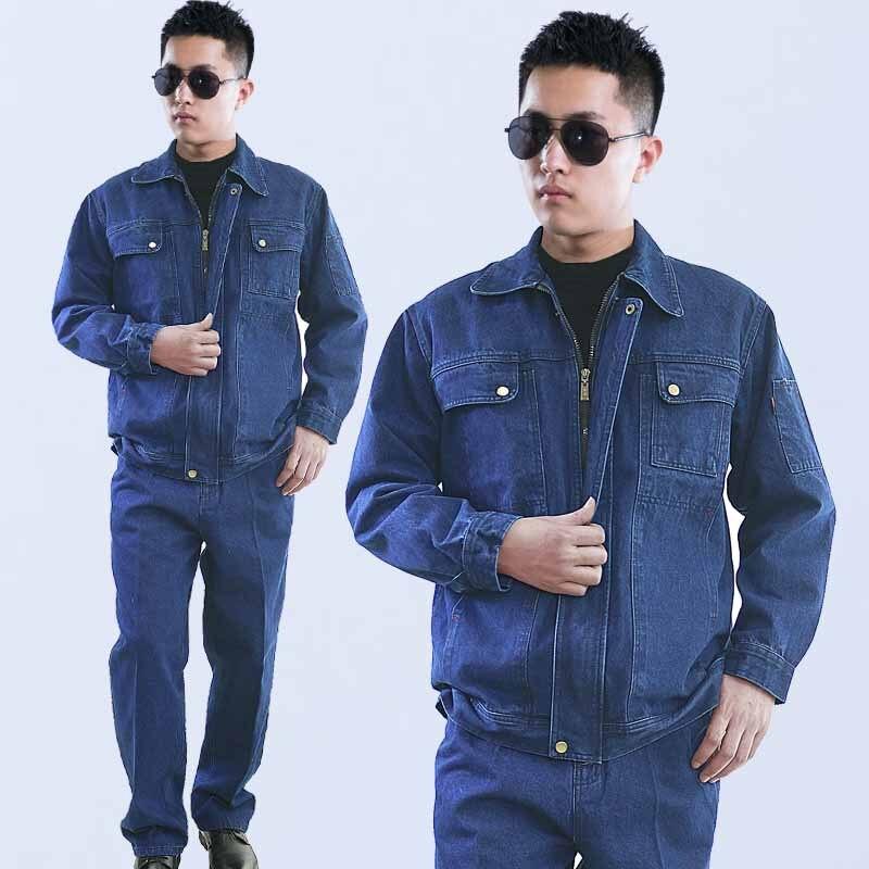 Worker Denim Coveralls Jeans Clothes Set Washable Wear-resistant Breathable Zipper Multi Pocket Uniforms Workshop Welding Suit