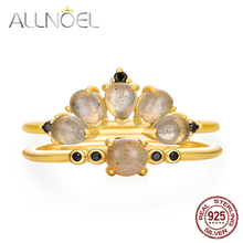 ALLNOEL Silver 925 Jewelry Stackable Rings Bridal Set For Women 9K Gold Plated Natural Labradorite Gemstone Fashion Style
