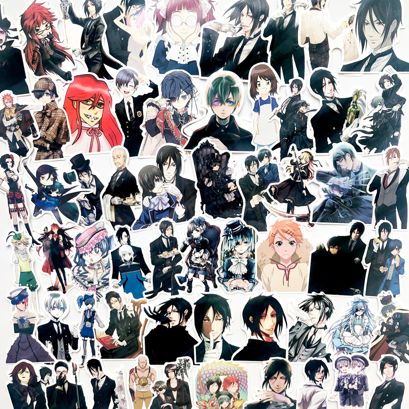 70Pcs Black Butler Anime Stickers For Laptop Scrapbooking Suitcase Skateboard Car Luggage Decal Sticker Waterproof