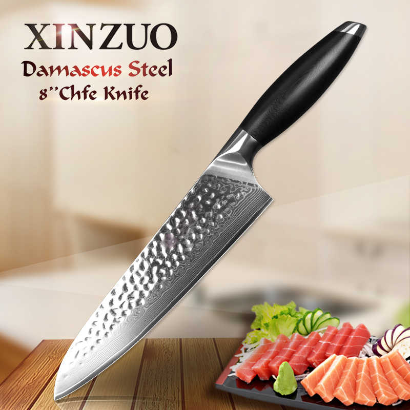 "XINZUO 8"" inch Chef Knife 67 Layers VG10 Damascus Stainless Steel Santoku Kitchen Knife Professional Chef Knives G10 Handle"