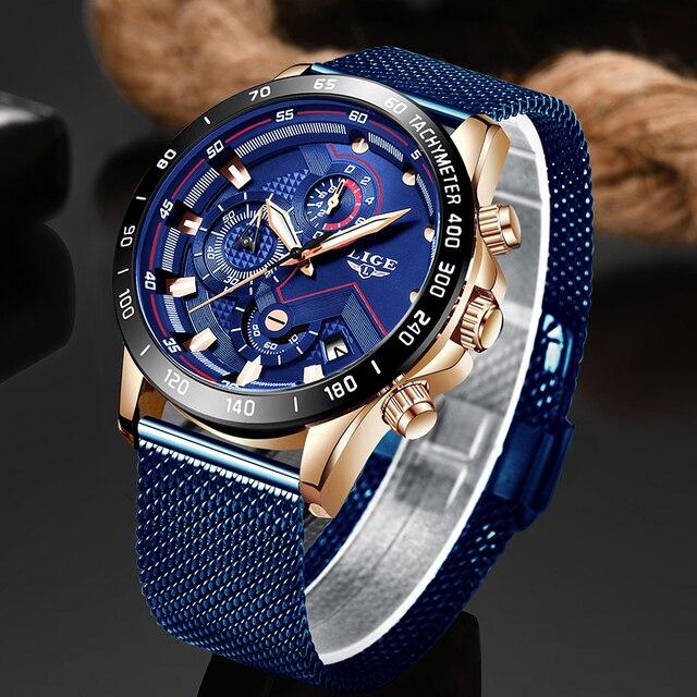2020New Mens นาฬิกา LIGE Luxury นาฬิกาข้อมือนาฬิกาควอตซ์สีฟ้านาฬิกาผู้ชายกีฬากันน้ำ Chronograph Relogio Masculino