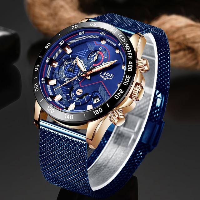 LIGE relojes para hombre, de cuarzo, azul, deportivo, resistente al agua, cronógrafo, Masculino