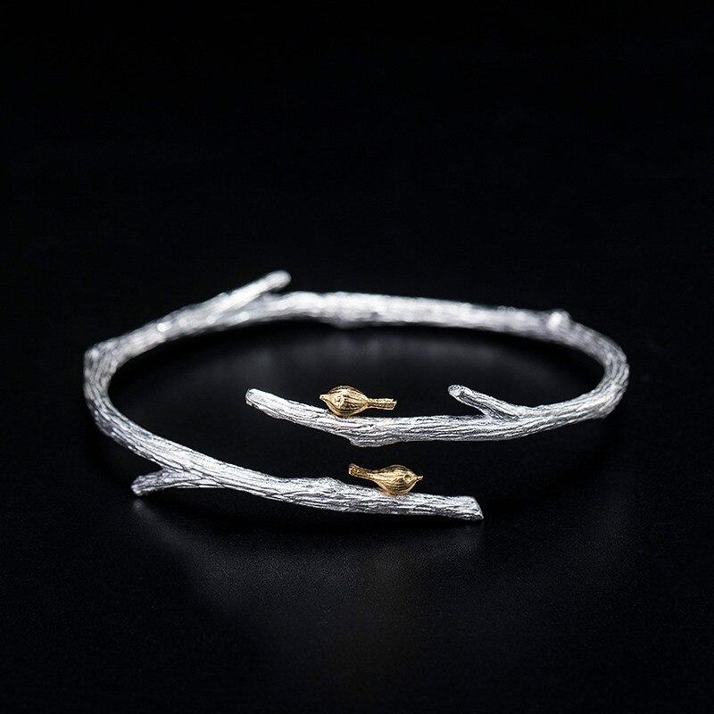 Flyleaf réel 925 argent Sterling rétro branche or oiseau bracelets pour les femmes Style chinois à la main Vintage bijoux