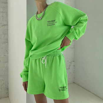 Casual Women's Personality Fluorescent Solid Color Letter Printing Loose O-neck Long Sleeve Sweater + Shorts Sportwear Girl Set [eam] 2020 spring trendy new personality loose big size solid color half sleeve o neck jumpsuit women ya11601