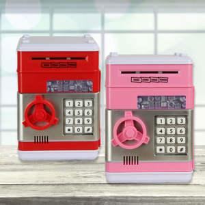 Money-Box Banknote Coins Deposit Piggy-Bank Cash-Saving ATM Digital Password Electronic