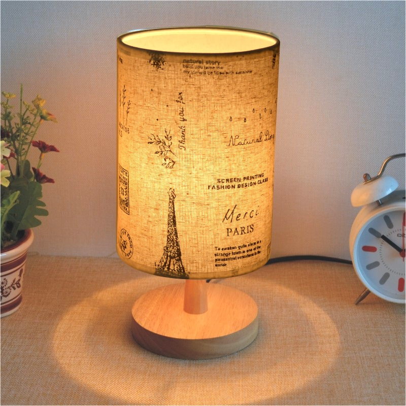 Solid wood table lamp small night light birthday present led bedroom  modern simple solid wood creative|Desk Lamps|   - title=