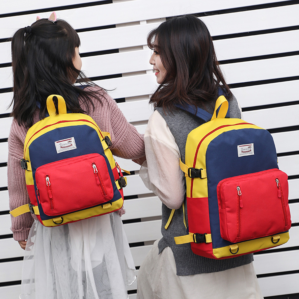 Color Backpack Parent-Child Bag Student-Bag Teenager Large-Capacity Casual Patchwork